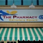 Sign outside of The Pharmacy at Belvedere Sqaure Market in Maryland.