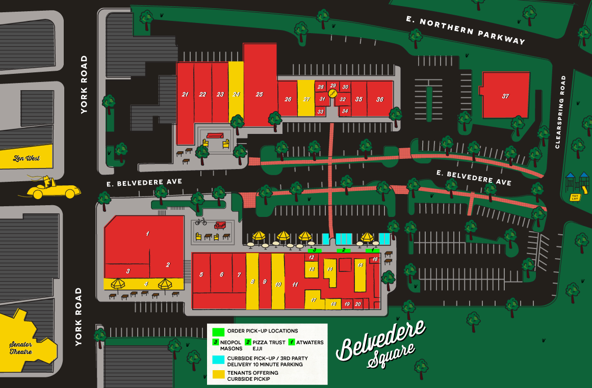 Belvedere Square marketplace map for tenant locations and curbside pickup options during COVID-19.