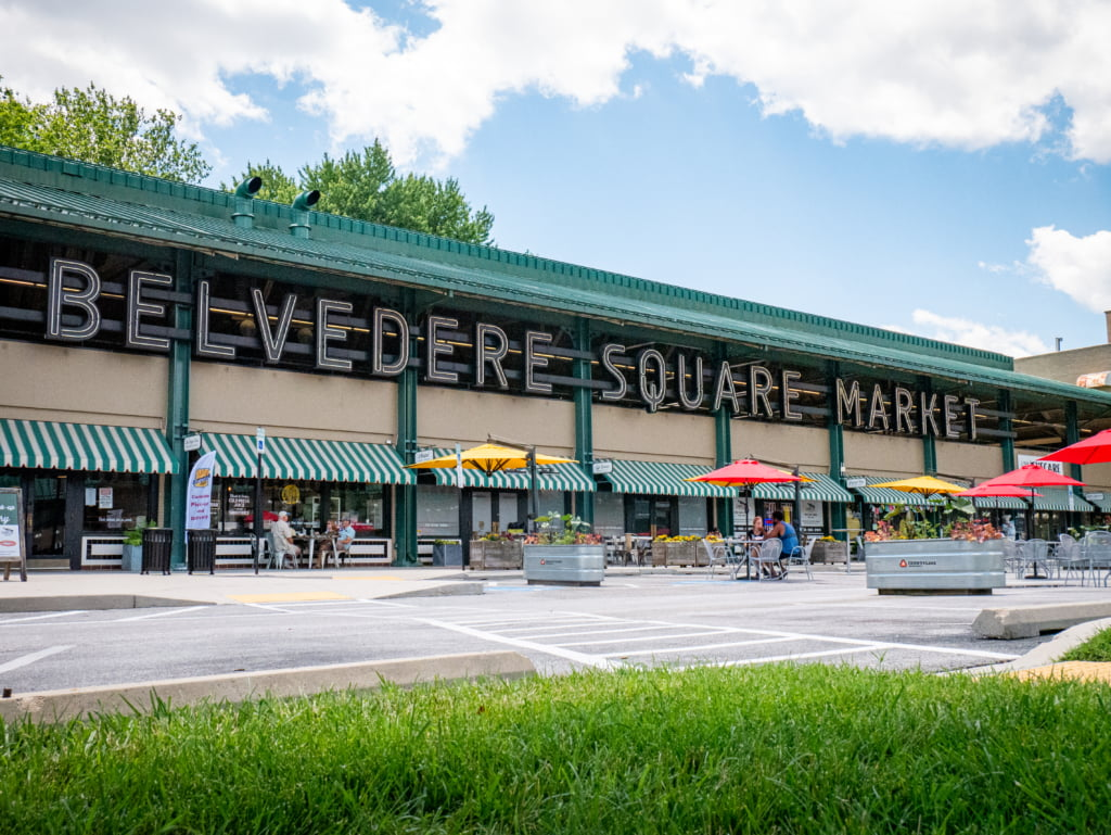 exterior shot of belvedere square market in baltimore