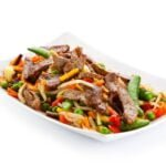 Beef, vegetable and noodle dish at Thai Landing in Belvedere Square.