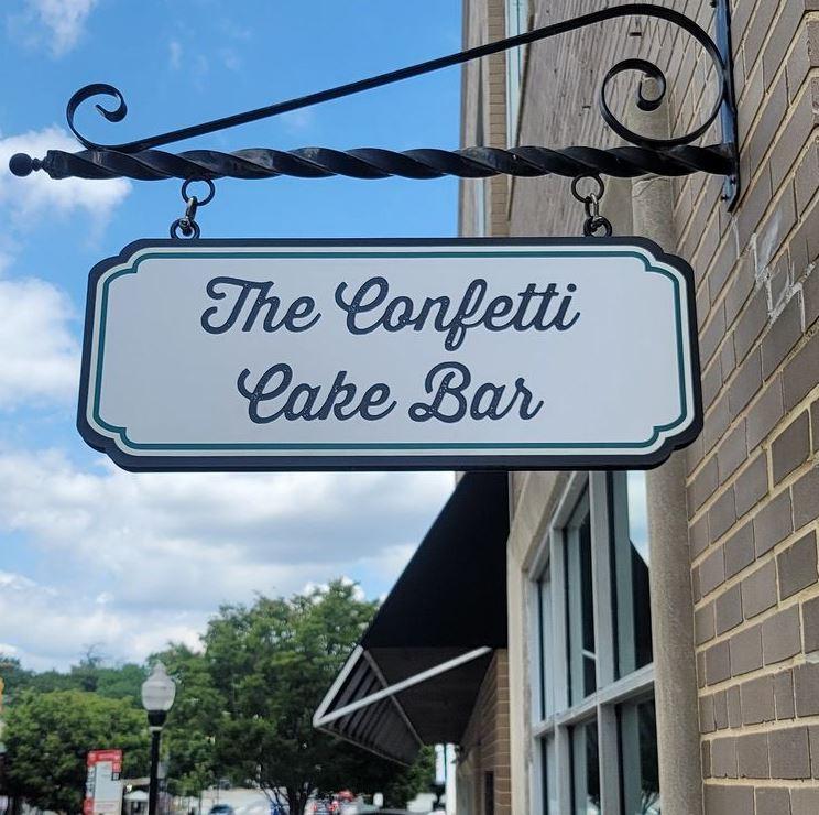 Confetti cake bar signage
